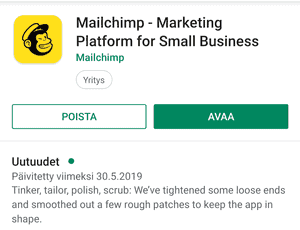 Mailchimpin mobiilisovellus Android