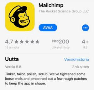 Mailchimpin mobiilisovellus iOS